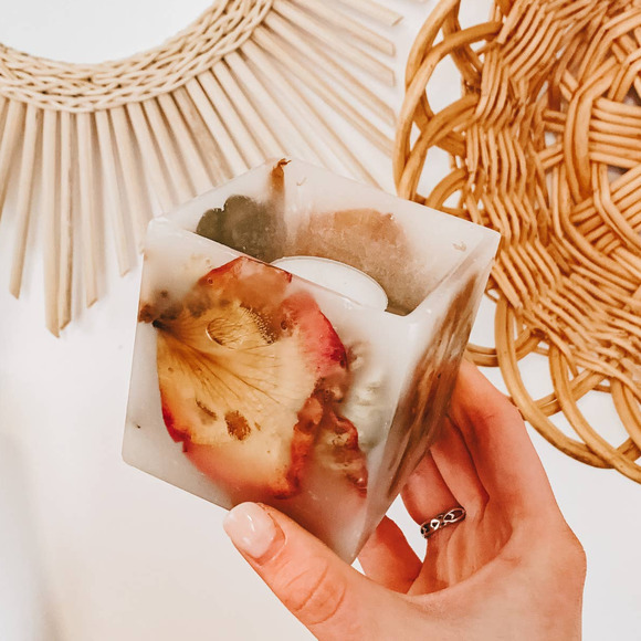 Boho Dried Floral Resin Mini Square Candle Holder